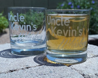 Personalized Whiskey Glass  - Deep Etched Straight Sided Rocks Glass, Whiskey Glass, Personalized Rocks Glass, Custom Whiskey Glass