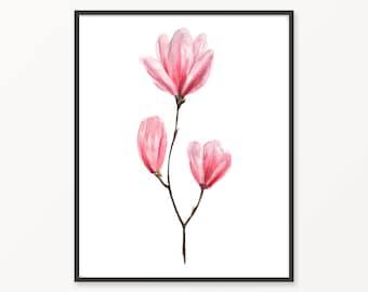 Watercolor magnolia, printable magnolia, magnolia print, watercolor flower, printable flower, watercolor print, magnolia wall art, flowers
