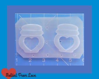 2 Open Kawaii Cookie Jar shapes Flexible Plastic Handmade Resin Mold