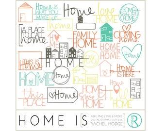 Home Is Set: Photoshop Brushes, Digital Cut Files & Clip Art