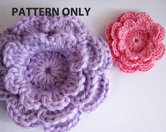 Crochet Flower Pattern - Three Layer Flower with 8 Petals - Instant Download