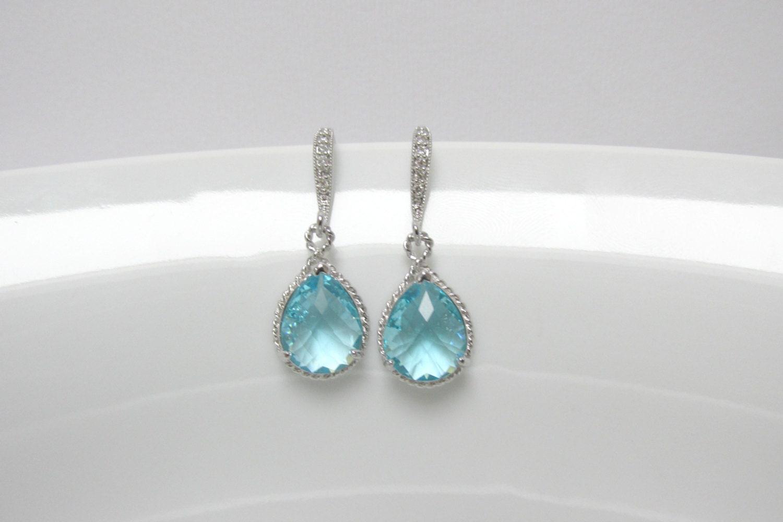 Light Blue Earring Cz Aquamarine Earring Bridesmaid Silver