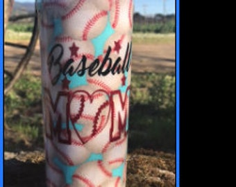 Baseball Mom Tumbler  team mom gift baseball mom fabric wrapped coated double walled no perspiration  stainless steel