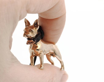 Vakkancs Boston Terrier bronze 3D keychain