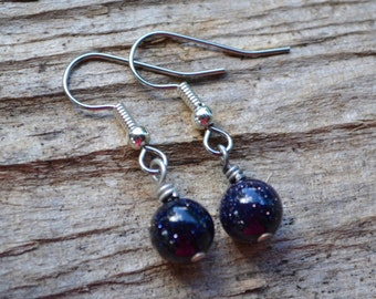 Blue Goldstone Rounds . Earrings