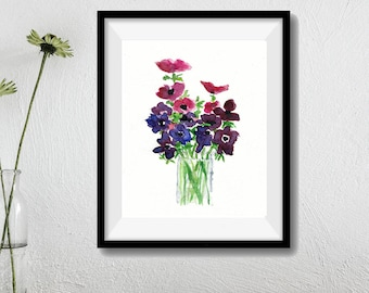 Anemone bouquet Print, Anemones art print, Still Life, watercolor print, mothers day, Purple, Fuchsia, Green,  floral art, home decor