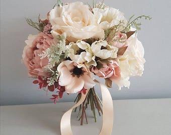 Blush silk bridal wedding bouquet -silk bouquet- wedding bouquet- Bridal bouquet- Bridesmaid bouquet - Occasions