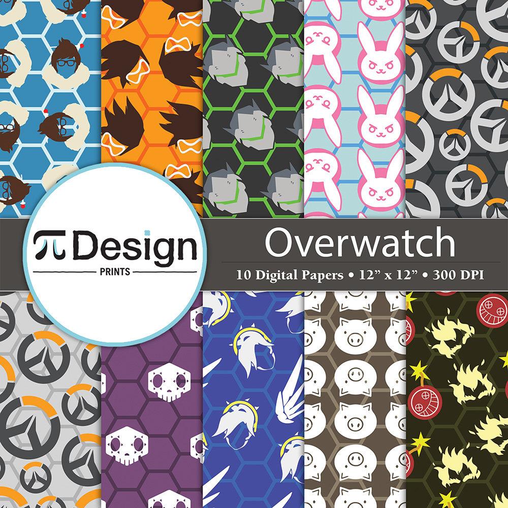 12x12 overwatch character icons digital paper 10 zoom buycottarizona