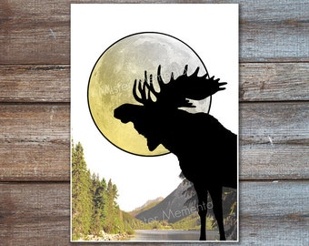 moose decor, wild and free print, full moon poster, nature art