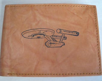 "Mankind Wallets Men's Leather RFID Blocking Billfold w/ ""Star Trek U.S.S. Enterprise"" Image~Makes a Great Gift!"