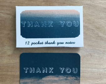 Blue-Pink Pocket Mini Thank You Cards Screen Printed By Hand