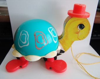 Fisher Price Vintage #773 Tippy Toe Turtle Pull Along String Toy 1962 with bell