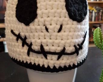 Crocheted Skeleton Beanie Hat for winter
