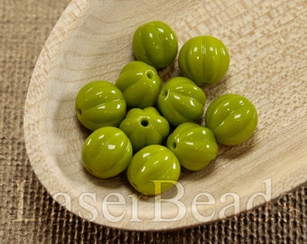 20pc Olive green beads 8mm    Green glass beads   Bright Olive green round Czech Glass   Opaque green beads