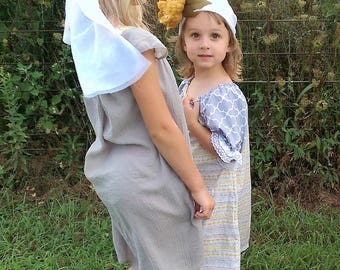 Boho Peasant Dress | Grey Dress | Washed Cotton Photo Shoot Dress | Grey and Mustard Dress | Size 4 5 Grey Dress | Ellie Ann and Lucy