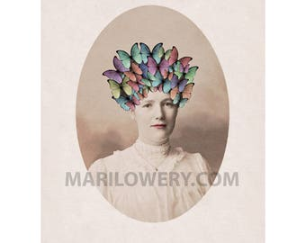 Butterfly Art Print, Unusual Portrait of Victorian Woman with Headdress, 8.5 x 11 Inch Spring Decor, frighten