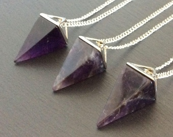 amethyst necklace, purple necklace, amethyst jewelry, amethyst pendant, amethyst stone, crystal necklace, crystal point, amethyst