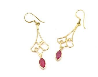 Ruby Earring, Long Earrings, Unique Earrings, Bridesmaid Earrings, Unique Jewelry, Handmade Jewelry, Simple Earring, Womens Earrings, Boho
