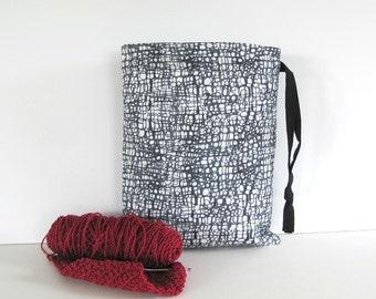 Knitting Bag, Socks Project Bag, Drawstring Pouch, Crochet Bag - Charcoal Grey White Modern Drawstring Knitting bag