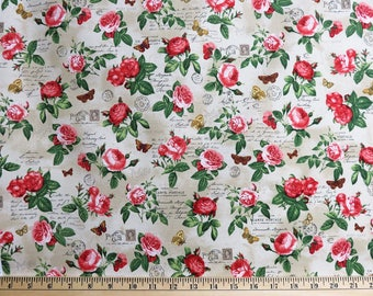 Antique Heirloom Diary Roses & Butterflies Robert Kaufman #6283 By the Yard