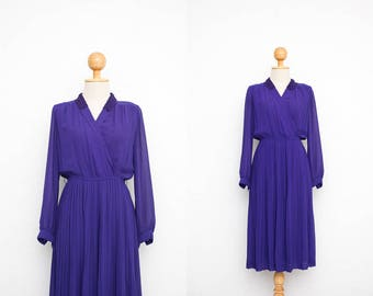 Vintage 70s Dress | Japanese Vintage Dress | Iris Purple Dress | Collared Dress | Wrap Top Dress | Pleated Dress | Evening Dress |  XS