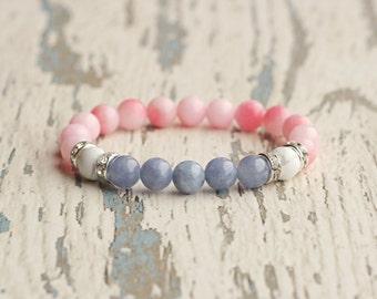 handmade women jewellery pink blue bracelet womens girlfriend gift for niece bracelets bead daughter bracelet colorful girls bracelet beach