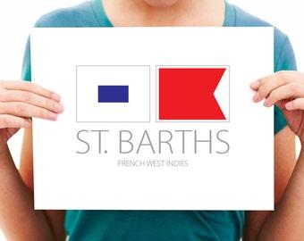 St. Barths - French West Indies - Nautical Flag Art Print