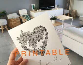 PRINTABLE black and white heart