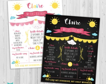 You are my Sunshine Birthday Sign, First Birthday Chalkboard Sign, Birthday Chalkboard poster, 1st Birthday Sign Blackboard one year old