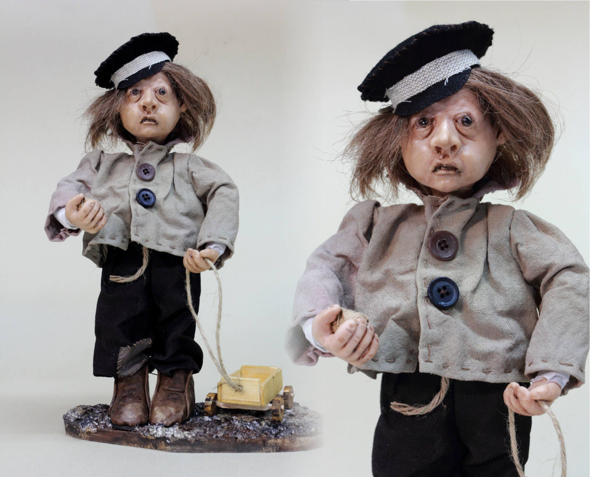 OOAK doll LITTLE BOY with toy handmade doll polymer clay