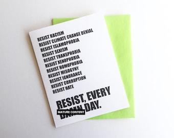 Resist, Every D*mn Day // NoteCard // Political, RESIST, Resistance, Feminism, Feminist, Inspirational Poster, Wall Art, Motivational
