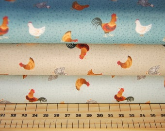 Lewis & Irene Small Things on the Farm Chickens/Hens Cotton Fabric