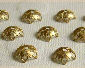 Raw Brass Bead Caps, Floral Bead Caps, Brass Filigree, 10mm - 12 pcs. (r166)