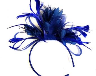 Royal Blue Net Hoop & Feathers Fascinator On Headband