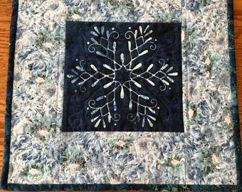 Quilted Table Topper, Snowflake Topper, Handmade Table Topper, Batik Table Topper,
