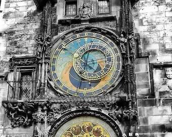 Prague Astronomical Clock | Czech Republic Travel Photography |  Worlds Oldest Clock | Clock Photography Art Print | Black and White Print