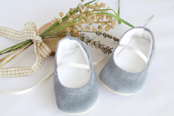 Grey Baby Cord Ballet flats. pre walkers and toddlers