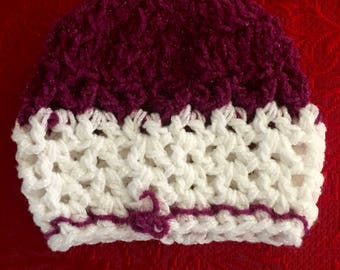 Hand-crocheted Baby hat in Sparkly Purple & White