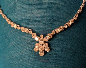 Vintage Bogoff rhinestone bib necklace in excellent condition signed absolutely stunning