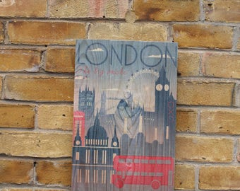 Iconic  London sights Wooden plaque