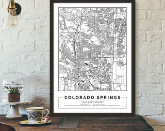 Colorado Springs, Colorado, City map, Poster, Printable,  Print, Street map, Wall art