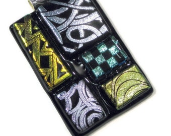 Fused Glass Abstract Art Pendant Necklace Silver Gold Dichroic Glass