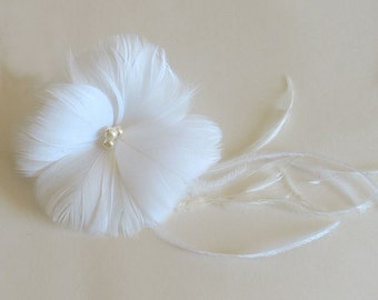 Bridal feather hairclip- Wedding fascinator, special occasion hair piece