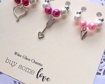 Wine glass charms, wine glass marker, Valentines Day gift, wine marker. SET of THREE (3).