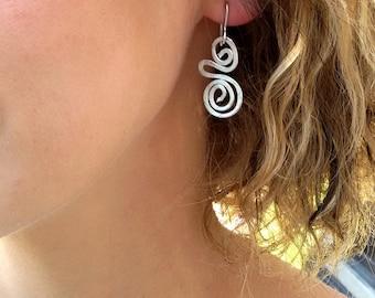 Gift For Her, Spiral Bohemian Earrings, Silver Dangle Earrings, Everyday Earrings, Bridesmaid Earrings, Charm Lightweight Earrings