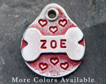 Dog Lover Gift, Pet ID Tag, Puppy Name Tag, Gift for Pet, Bulldog Dog Tags, Unique Dog Tag for Collar, Heart