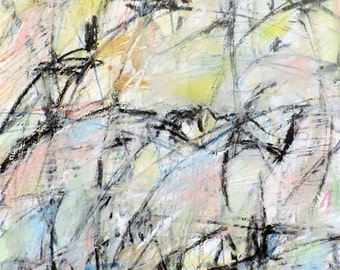 10-26-16a  (abstract expressionist painting, black, white, blue, purple, green, yellow, gold, red)