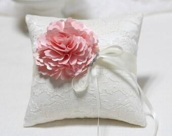 Wedding Ring Pillow - Light Pink Bloom on Cream lace Ring Pillow, wedding ring bearer pillow, wedding ring cushion