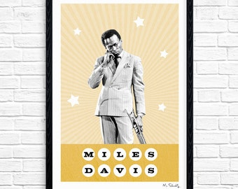 Miles Davis - Superstar, Jazz Musician, Music Print, Legend, Music Gift, Music Typography, Poster Design, A4, A3.