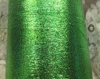 metallic coned yarn approx 30000 yds 1 lb plus emerald metallic machine knitting crafts altered art sweaters